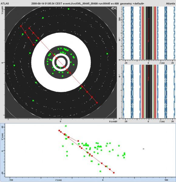 Prvi trag čestice kosmičkog zračenja uhvaćene u ATLAS-u (izvor: http://blogs.uslhc.us/?p=376)