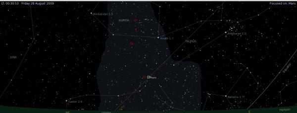 Izgled istočnog dela neba 28. avgusta 2009. god, oko 00:30h. Planeta Mars nalazi se u centralnom delu