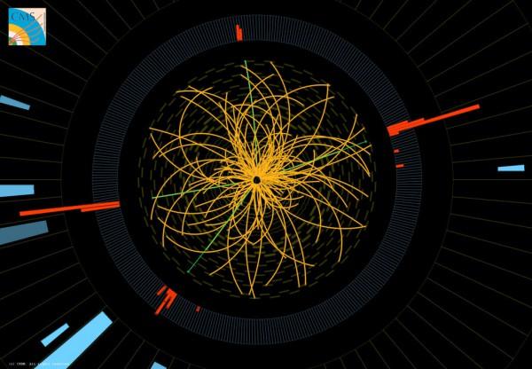 Jedan od događaja snimljenih na CMS detektoru u kome su registrovana četiri elektrona (teleni i crveni tragovi). Karakteristike ovog događaja odgovaraju modelu raspada Higsovog bozona.