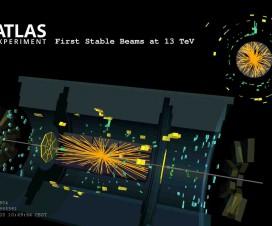 Jedan od prvih sudara koji je detektova ATLAS, 3. juna nakon  pokretanja LHC na energiji od 13TeV
